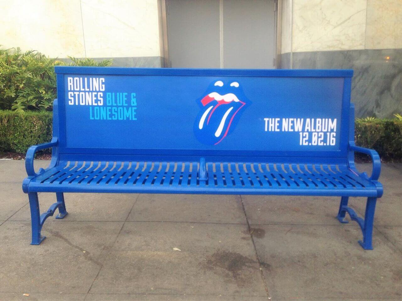 The Rolling Stones Bus Bench Ad